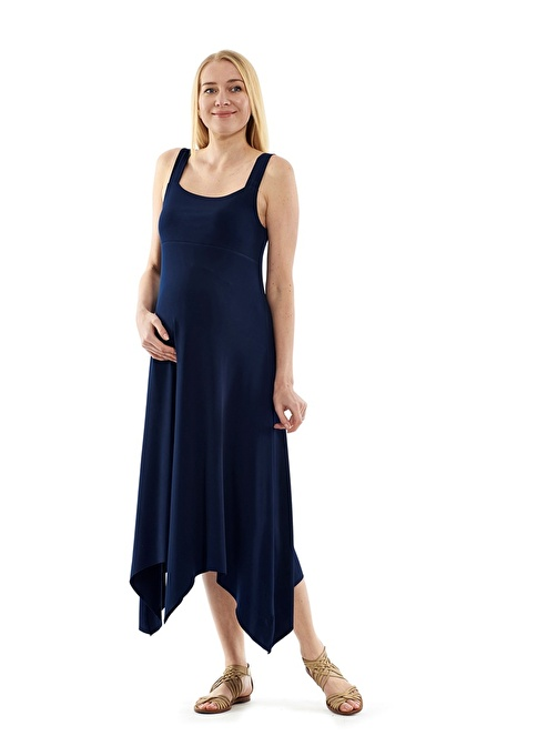 Motherway Maternity Uzun Hamile Elbisesi Lacivert